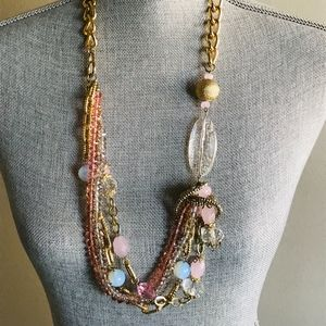 Jewelry - Plus size gold and pink statement necklace